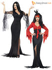 Size 8-18 Ladies Vampire Morticia Witch Costume Womens Halloween Fancy Dress
