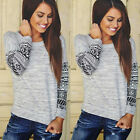 Nice Women's Long Sleeve Shirt Casual Lace Blouse Loose Cotton Tops Lady T Shirt