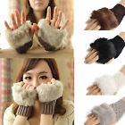 New Women's Warm Knitted Fingerless Winter Gloves Unisex Soft Warm Mittens