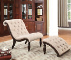 NEW CHRISTINE BEIGE FABRIC or BROWN BYCAST LEATHER WOOD ACCENT CHAIR & OTTOMAN