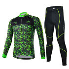 Men's Cycling Jersey Set Bike Bicycle Camouflage Long Sleeve Jersey Pants Green