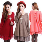 Fashion Women Ruffle Long Sleeve Blouse Tops Loose Sweater Shift Dress Plus Size
