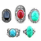 Wholesale Lot 5pcs Fashion Jewelry Antique Silver Plated Mixed Turquoise Rings