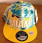 Miami floral print snapback caps, strap back flat peak fitted baseball hat hip