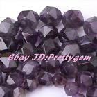 "Nautral Amethyst Faceted Cube Gemstone Spacer Loose Beads 15"" 6mm 8mm 10mm 12mm"