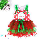 Kid Reds Santa Claus Christmas Party Flower Girls Tutu Dresses SIZE 1-2-3-4-5-6T