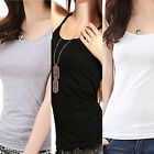 New Plain Womens Sleeveless Ladies Stretch Long Strappy Camisole Vest Tank Top