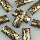 Gold Black Crackle Fashion Design False French Acrylic Nail Tips New