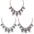 1PC ALL MATCH BLING FACETED BEADS CRYSTAL SECTION FLOWER FRINGE PENDANT NECKLACE