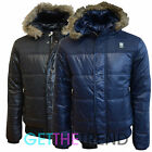 Crosshatch Mens Hooded Fur Trim Bubble Shiny Puffer Jacket Mens Bomber Zip Coat