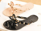 Rose Womens Rivet Bowknot Jelly T Strap Flat Sandal Summer Beach Slippers Shoes