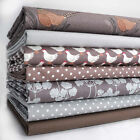 7 FQ BUNDLE EARTH - COUNTRY LIFE by LEWIS & IRENE 100% COTTON FABRIC brown grey