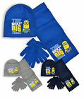 Boys Minions Hat Scarf And Glove Set New Kids Winter 3 Piece Set Ages 3-12 Years