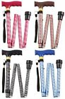 Fancy Sparkly Aluminium Folding Walking Stick Choose Colour Red Blue Brown Black