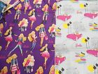"BARBIE 100% cotton fabric quilt weight panel vignettes 1 yd x 44"" w FREE SHIP"