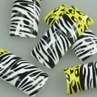 Black White Yellow Zebra Fashion Design False French Acrylic Nail Tips New