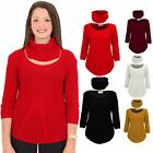 Ladies Cable Knitted Long Sleeve High Low Sides Snood Scarf Plain Warm Jumper