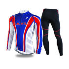 Men Thermal Fleece Long Sleeve Cycling Jersey Set Pants Winter Winproof Fit Warm