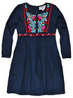 Girls Navy Floral Dress New Kids Long Sleeved 100% Cotton Dresses Age 2-10 Years
