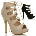 WOMENS LADIES HIGH HEEL PLATFORM CHUNKY CUT OUT LACE UP CAGED SANDAL BOOTS SIZE