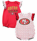 San Francisco 49ers NFL Baby Girls 2 Pack Polka Dot Fan Creeper Romper Set