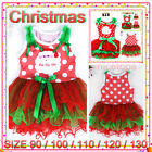 Kids Red Christmas Celebration Party Siant Claus Girls Dresses SIZE 1-2-3-4-5-6T