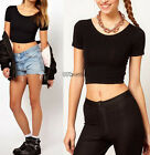 Summer Hot Cloth Short Cropped Scoop Neck Casual Blouse T-Shirt Short Sleeve Top