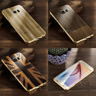 Aluminium Metal Bumper & Retro Wood Pattern Printing PC Back Case for Samsung