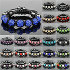 7pcs Crystal Rhinestones and Clay Round Beads Shamballa Jewellery Bracelets 10mm