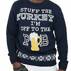 Mens Long Sleeve Stuff The Turkey Design Knitted Christmas Jumper Sweater Top