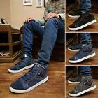 Men New Sneaker Canvas Lace-Up Ankle Boots High Top Plimsoll Walking Skate Shoes