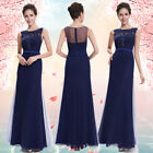 Women's Navy Blue Sleeveless Maxi Evening Formal Party Prom Dress 08661