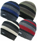 Knitted Striped Thinsulate Fleece Lined Beanie Hat Mens Womens Hats