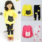 Girls Kids Cotton 3PCS Outfits Set Long Sleeve Top Shirt Dress+Leggings Pants