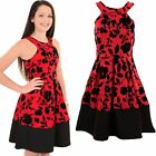 Ladies Sleeveless Floral Embossed Flock Print Block Hem Glitter Skater Dress