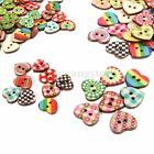 100pcs 15/19mm Mixed Heart Pattern 2 Holes Wood Buttons Sewing Scrapbooking