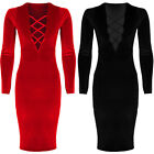 Ladies Long Sleeve Lace Up Plunge V Neck Knee Length Velvet Bodycon Dress