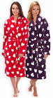Ladies Heart Print Dressing Gown New Super Soft Fleece Bathrobe Red Purple S-XL