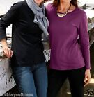 NEW LADIES WOMANS COTTON SWEATER TOP LYCRA TWIN PACK SIZE 14/16 BLACK/PLUM