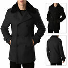 Threadbare Mens Coat Wired Formal Double Breasted Removable Fleece Collar Jacket