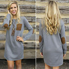 Women Long Sleeve Loose Mini Jumper Dress Pullover Sweatshirt Casual Tops Blouse