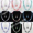 Mixed colors Glass Crystal Faceted Beads Necklace Earrings Jewelry Set SBM076