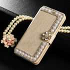 Luxury Bling Bowknot Crystal Diamond Wallet Cover Flip Case for iPhone Samsung