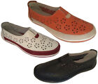 Ladies Shoes Wild Sole Aria Leather Slip on Shoes White Red or Black Multi 6-10