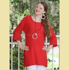 OH MY GAUZE Cotton A-Line  SUZI  Ruffle Tunic Top 1(S/M/L) 2(L/XL) 3(1X) CRIMSON