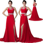 Sexy RED Long Chiffon Beaded Bridesmaid Dresses Evening Party Prom Formal Dress