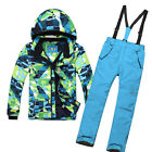 Winter Kids Cotton Padded Skiing Snowsuit Windproof Coat Pants Jacket Bibs Sets