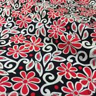 per 1/2 metre/fat quarter Black, red & ivory abstract floral fabric 100% cotton
