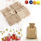 1/5/10X Mini Rustic Burlap Pouch Sack Drawstring Tie Bag Wedding Party Favor New