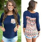 Women's Long Sleeve Casual Blouse Tops T Shirt Crew Neck Pocket Floral Loose Tee